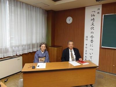 中谷貞女先生と来賓の江原健二長門市教育長.jpg