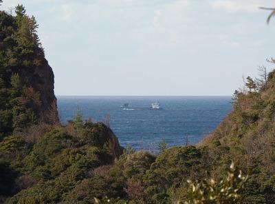日本海の水平線と貨物船1.jpg
