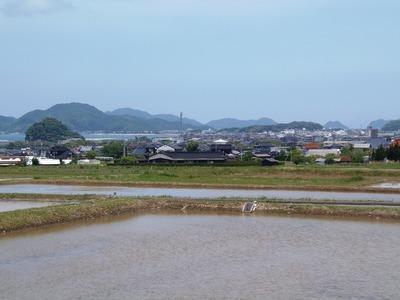 田植え前のたんぼと長門市街と青海島.jpg