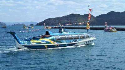 青海島観光船・海上パレードスタート20.4.5.JPG